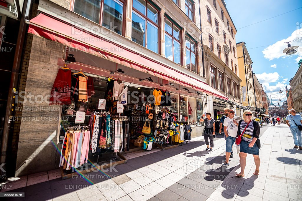 Gift shop and tourists in Stockholm, Sweden stock photo