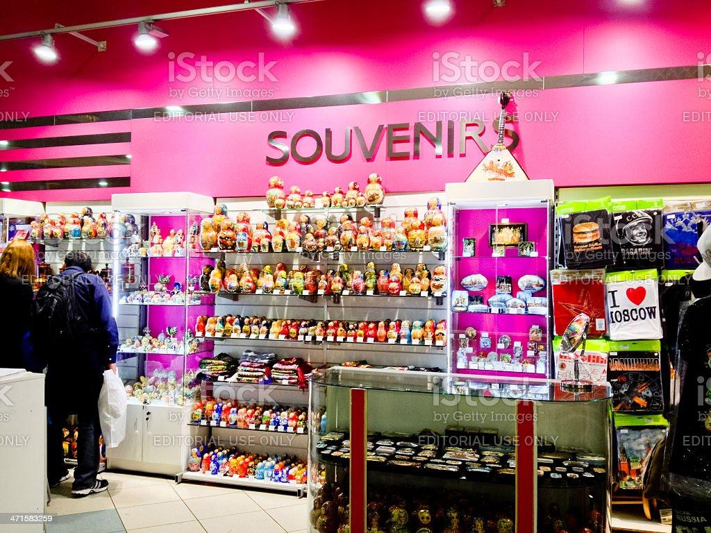 Gift Shop at Russian International Airport Domodedovo stock photo