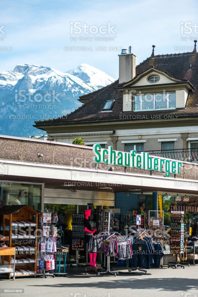 Gift shop in Interlaken, Switzerland stock photo