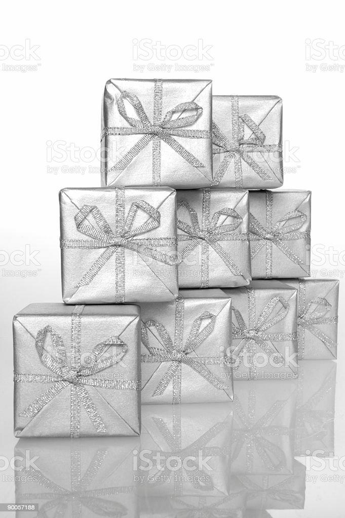 Gift silver box 03 stock photo