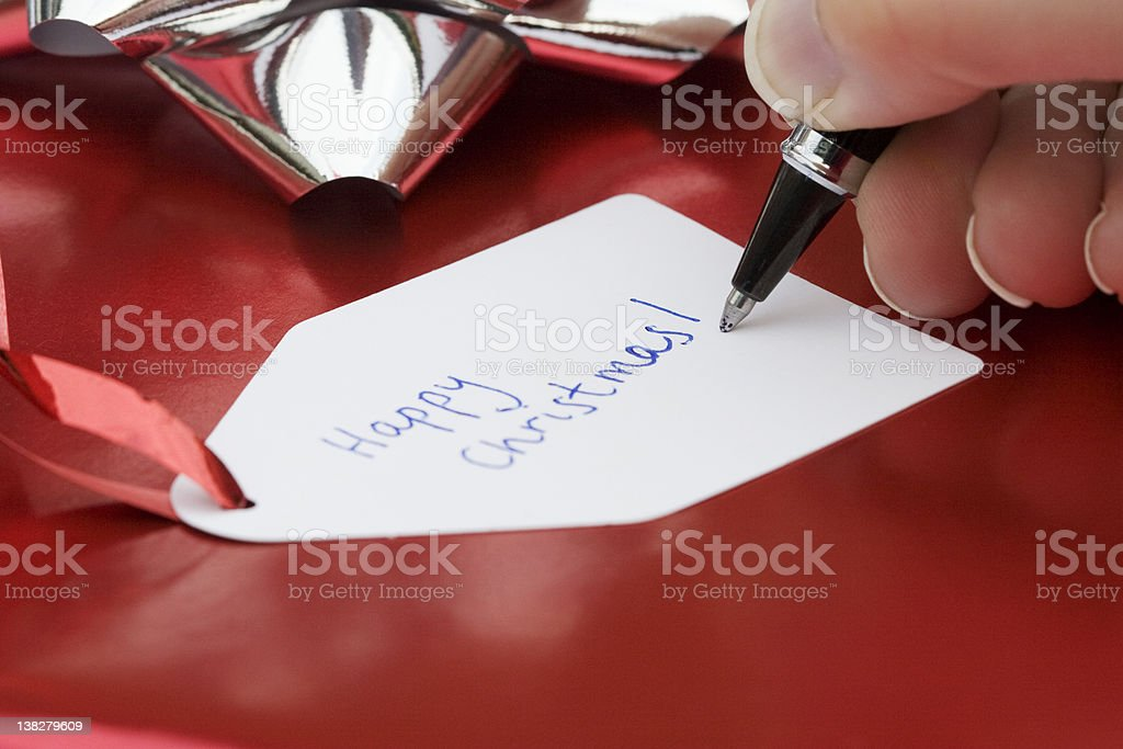 Gift Tag: Happy Christmas royalty-free stock photo