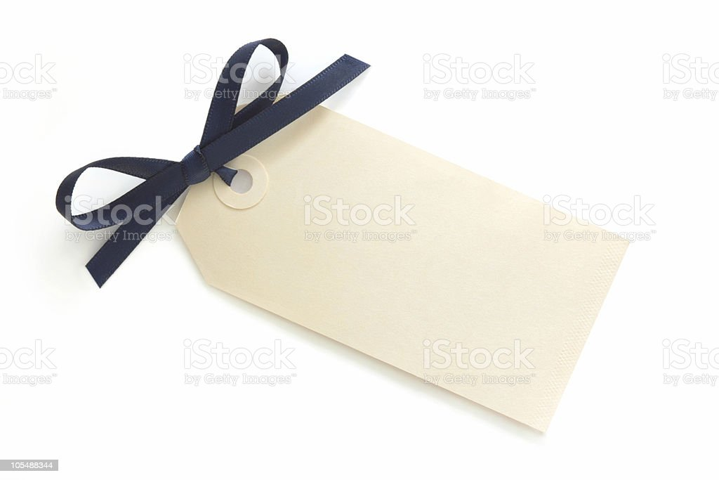 Gift Tag with Blue Bow stock photo