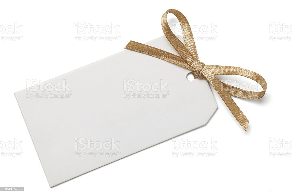 Gift Tag with Bow stock photo