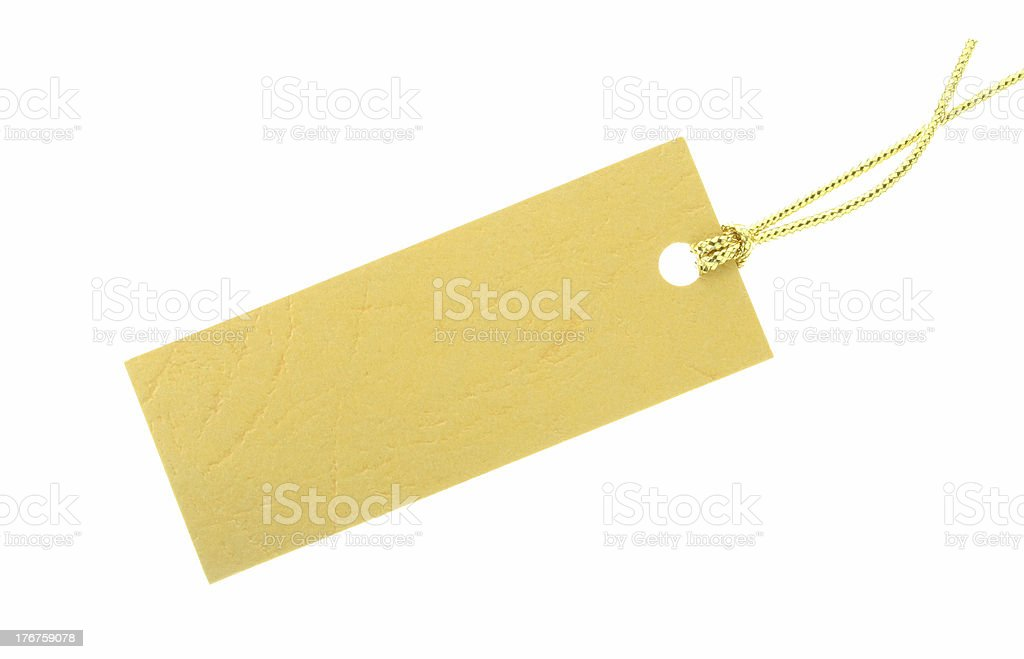 Gift Tag with Gold Rope royalty-free stock photo
