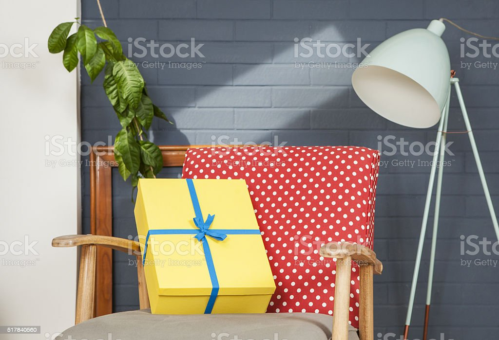 Gift waiting for you at home! stock photo