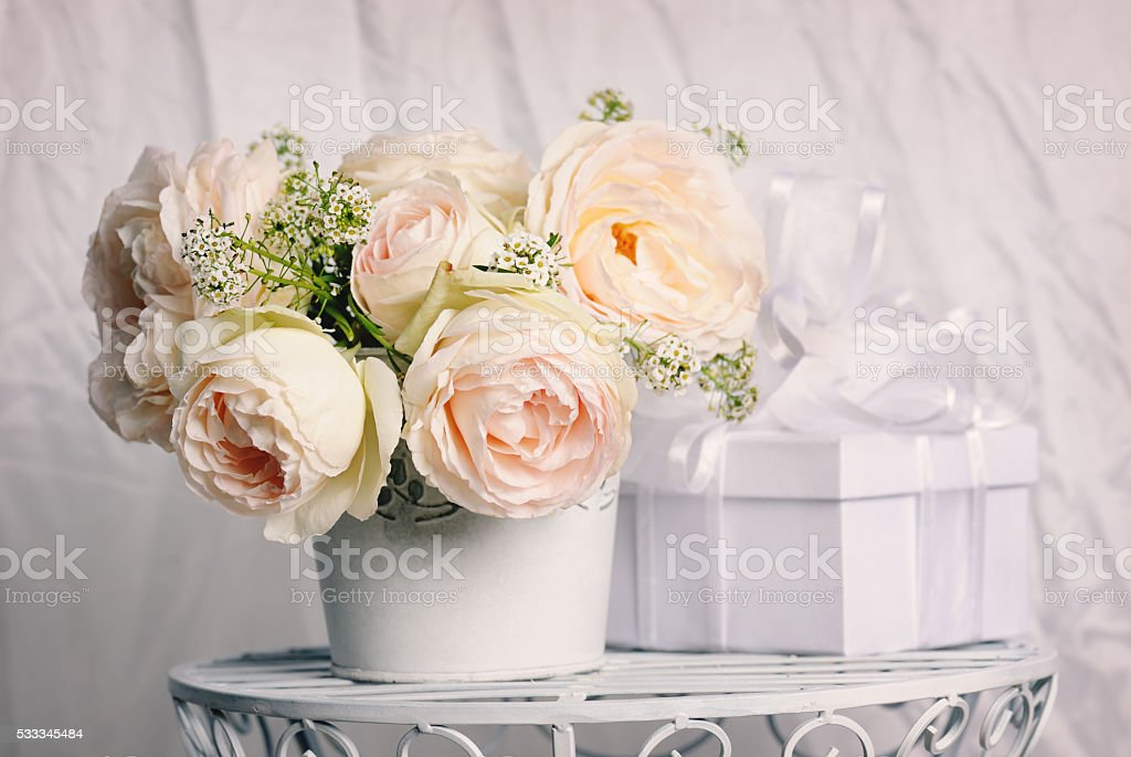 gift with beautiful roses stock photo