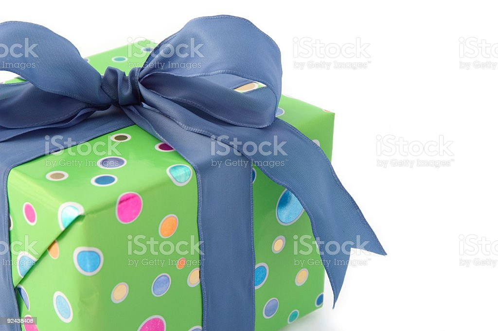 gift with blue bow 2 royalty-free stock photo