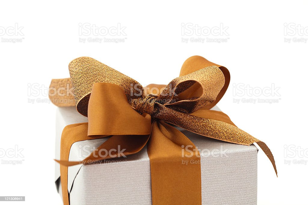 gift with brown bow royalty-free stock photo