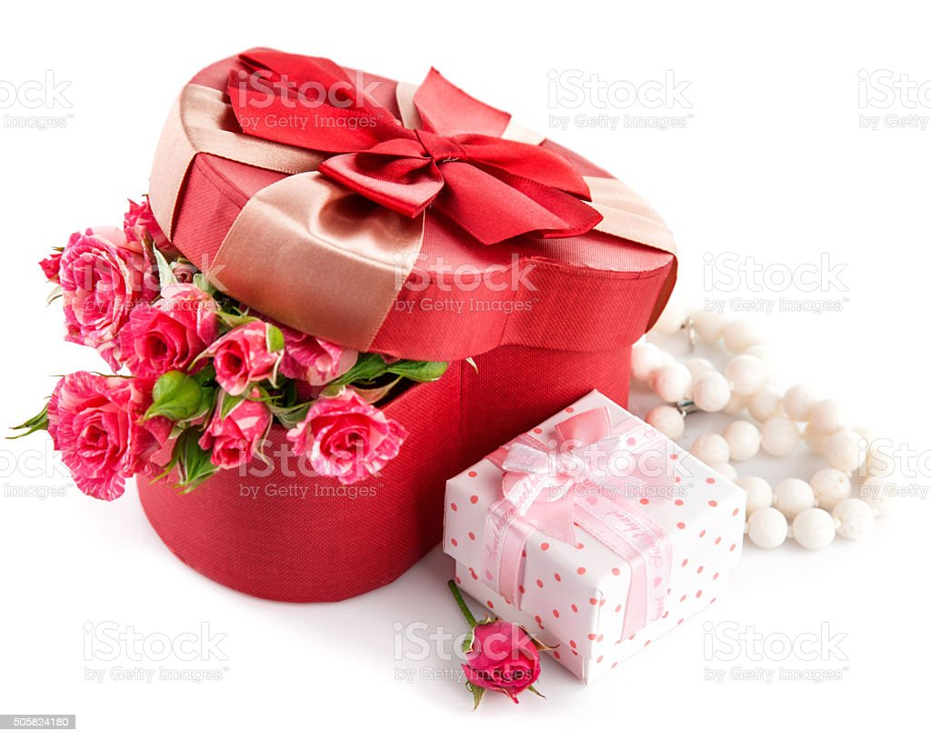Gift with bunch roses on valentines day stock photo