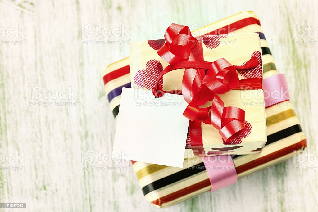 Gift with empty tag royalty-free stock photo
