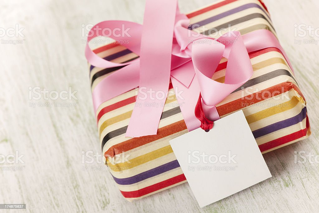 Gift with empty tag stock photo