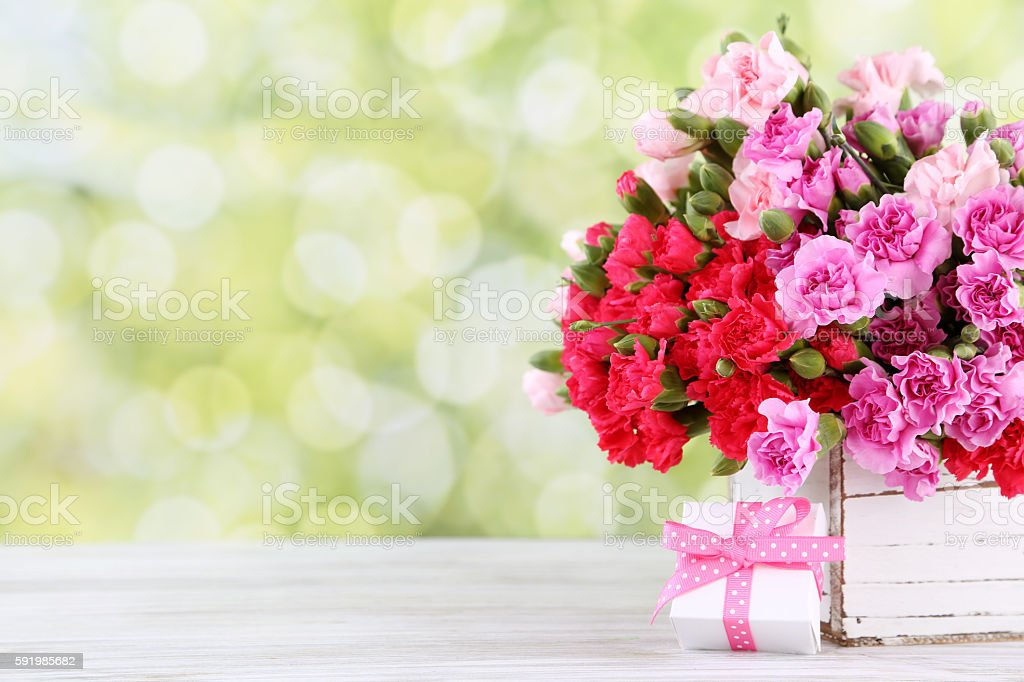 gift with flowers stock photo