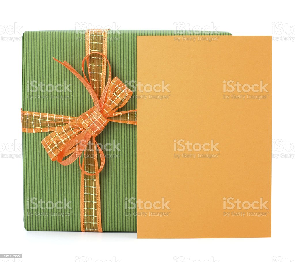 Gift with greeting card stock photo