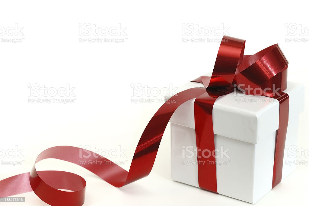 Gift with red ribbon royalty-free stock photo