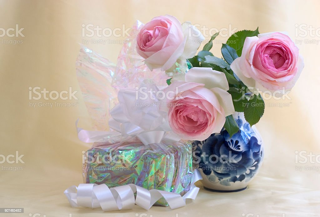 Gift with roses royalty-free stock photo