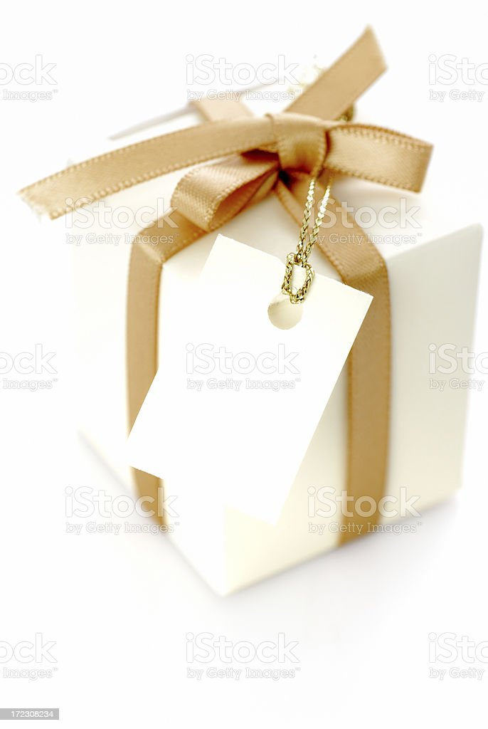 Gift with tag royalty-free stock photo