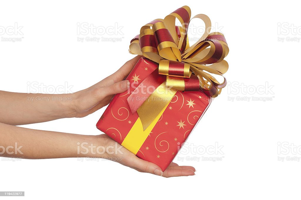 Gift with yellow bow royalty-free stock photo