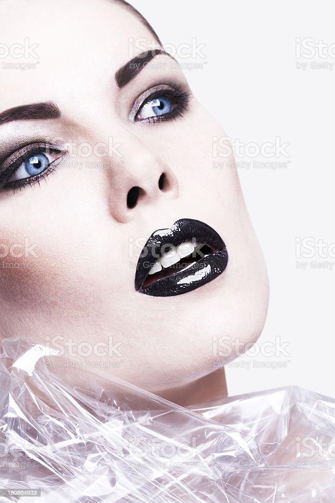 Gift Wrap Beauty Black Lips royalty-free stock photo