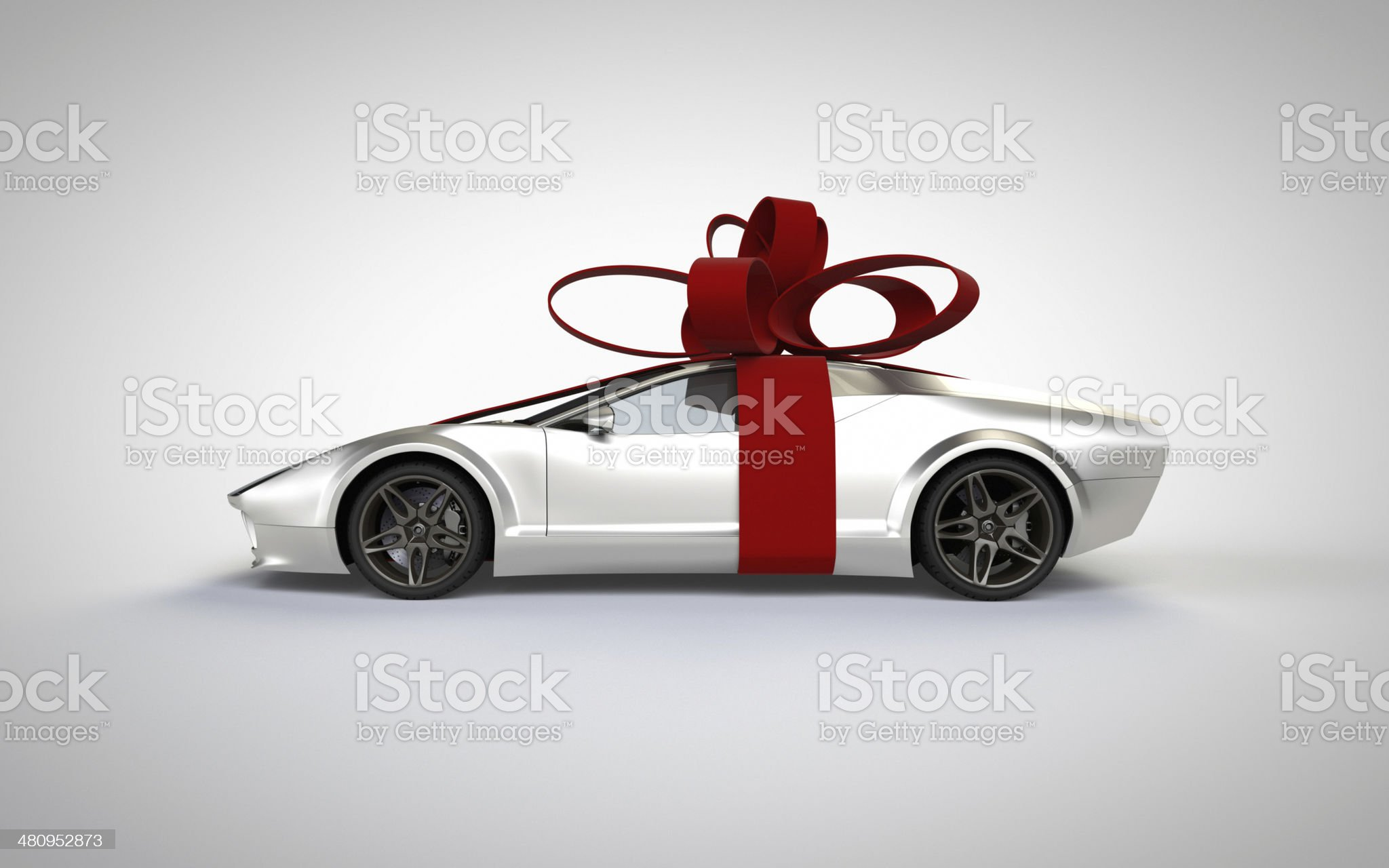 gift wrapped sports car royalty-free stock photo