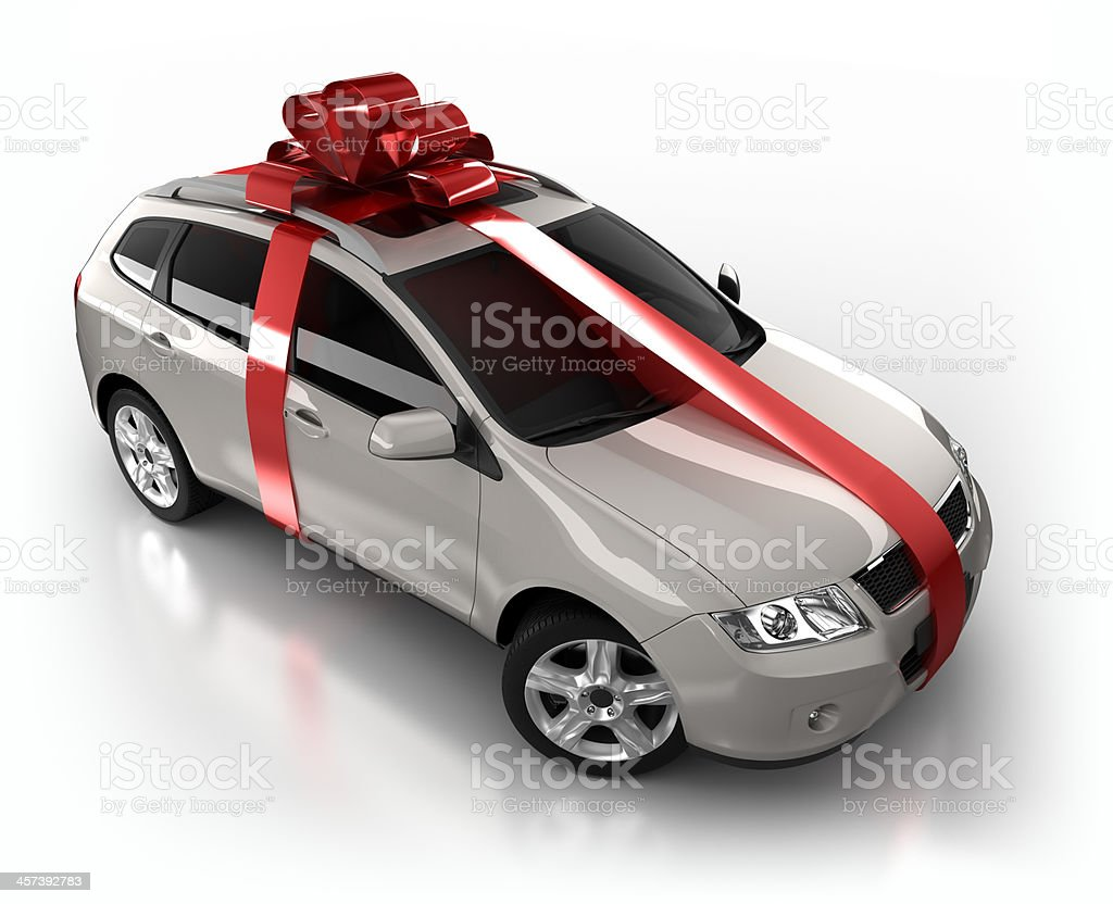 gift wrapped SUV Car in studio - isolated on white stock photo