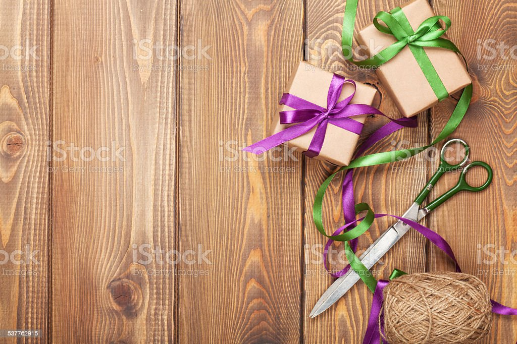 Gift wrapping stock photo