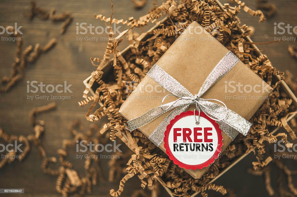 Giftbox ready to be shipped with Free Returns tag stock photo
