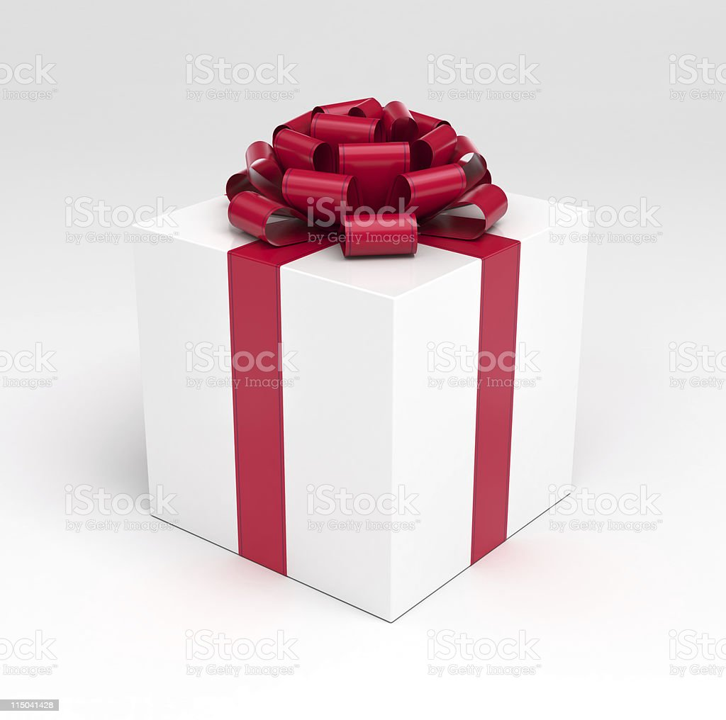 Giftbox with Red Ribbon Bow stock photo