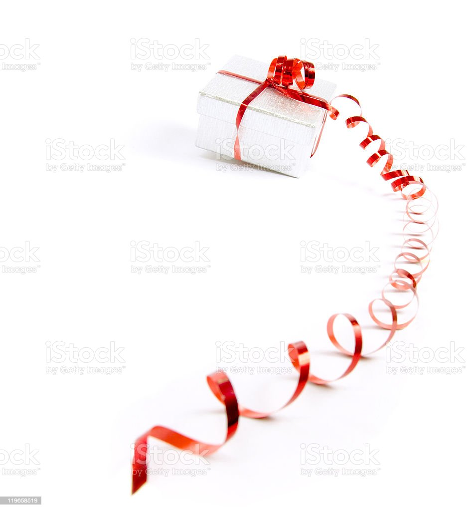 Gift-box with red ribbon royalty-free stock photo