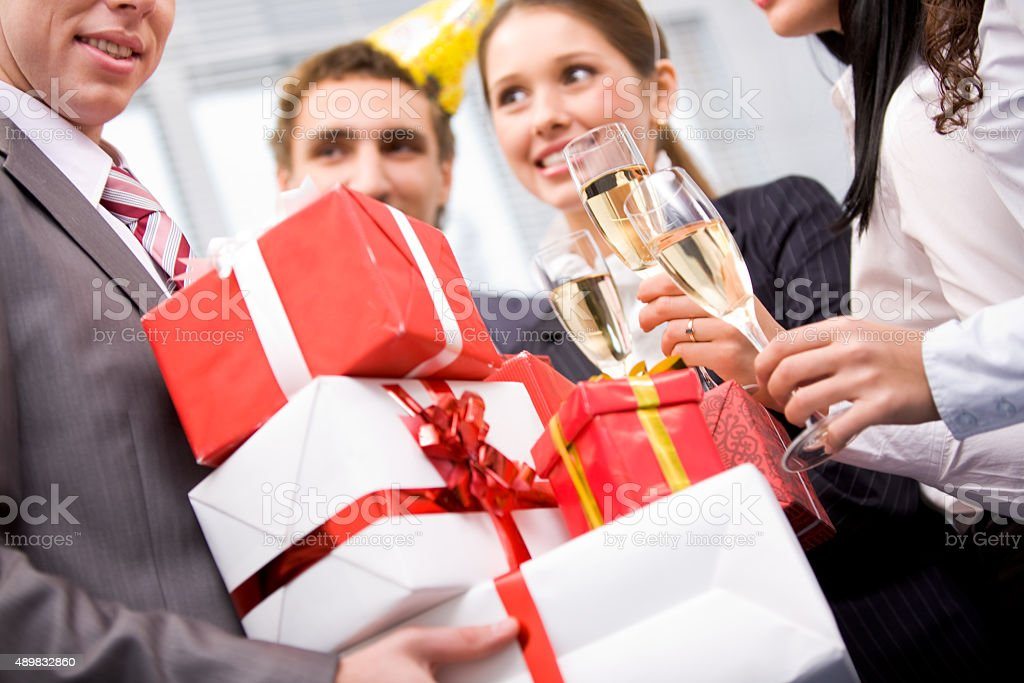 Giftboxes in hands stock photo