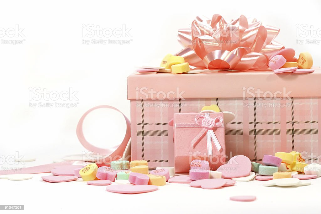Gifts and candies for Valentine's Day stock photo