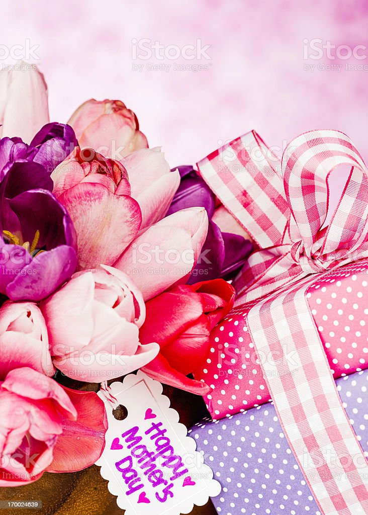 Gifts and Flowers For Mom royalty-free stock photo