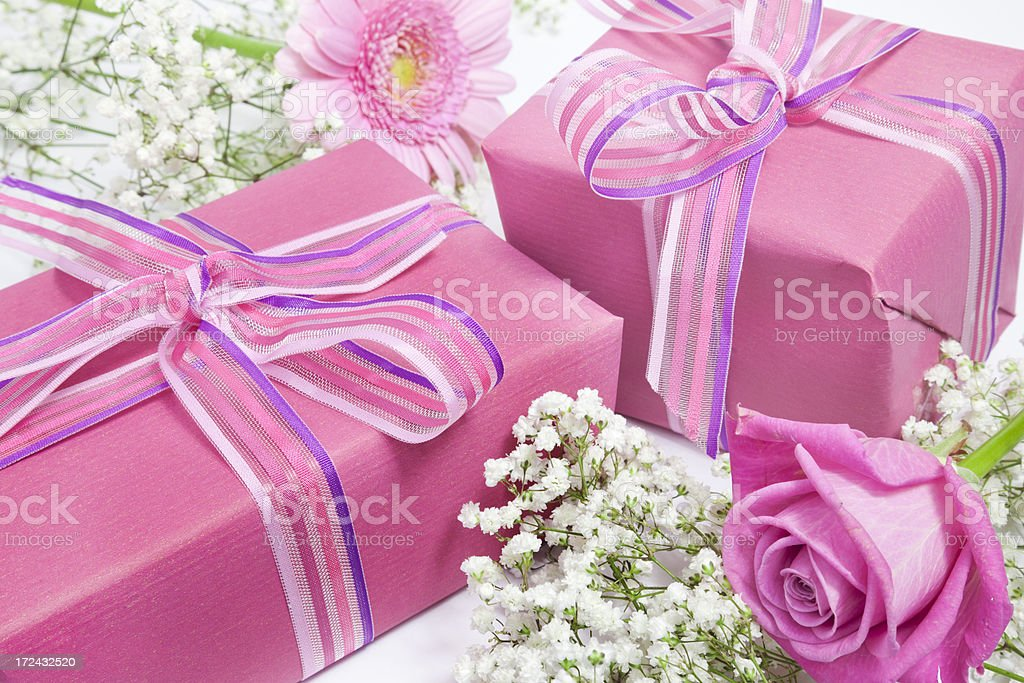 Gifts and flowers royalty-free stock photo