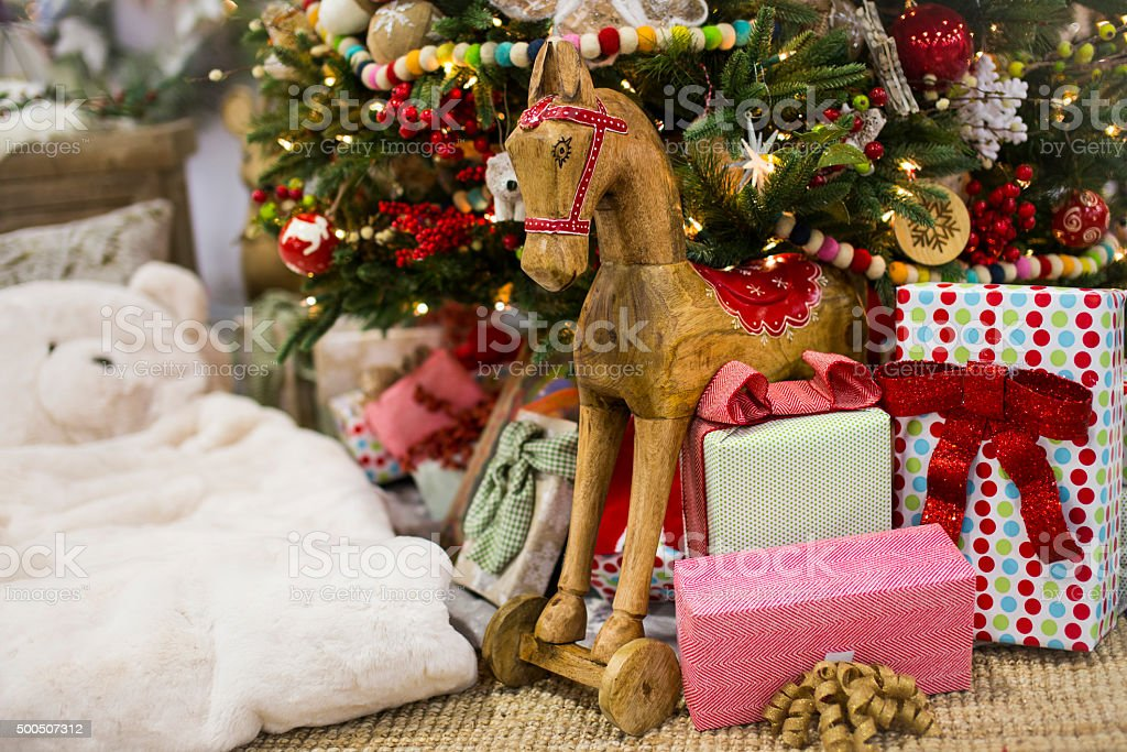 Gifts and Presents underneath a Christmas Tree stock photo