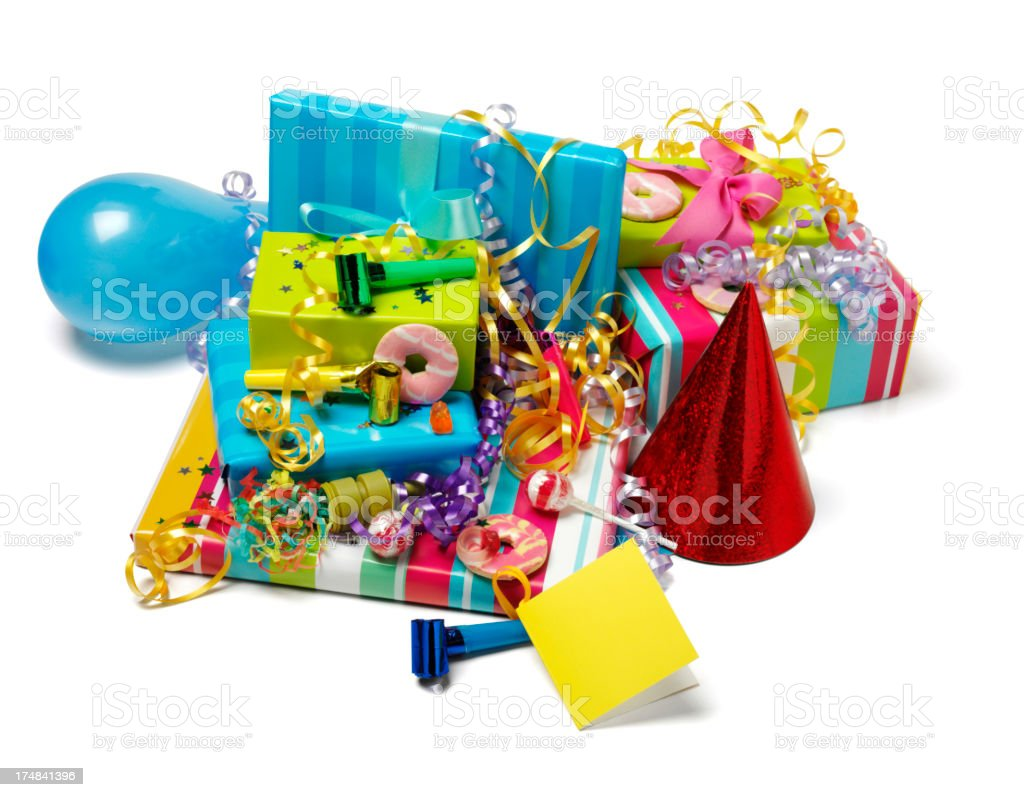 Gifts and Streamers at a Party royalty-free stock photo