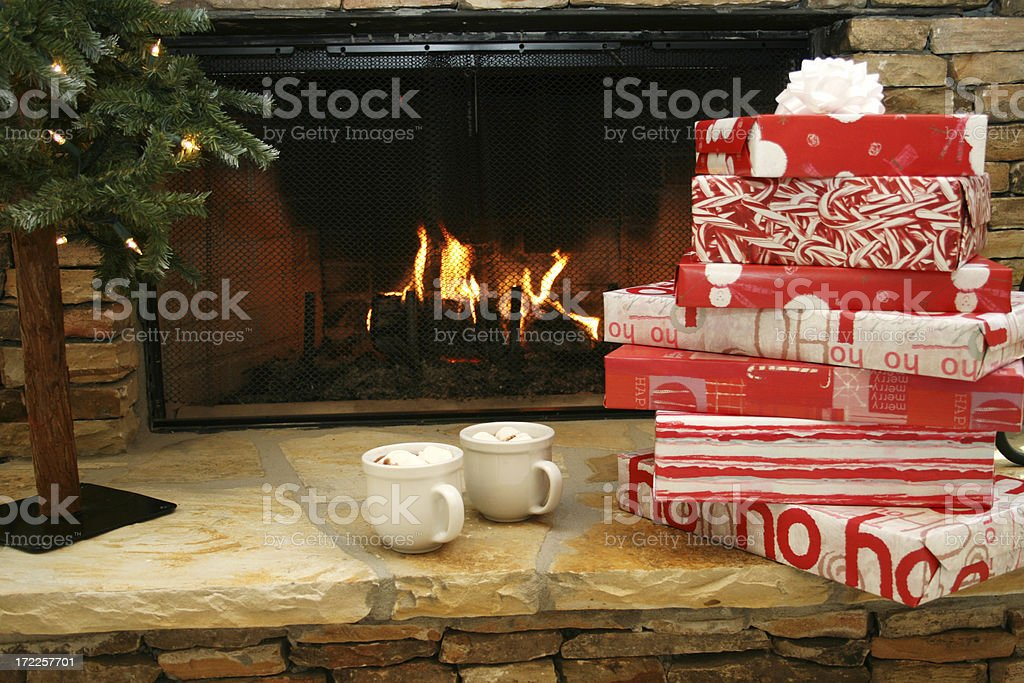Gifts by the Fire royalty-free stock photo