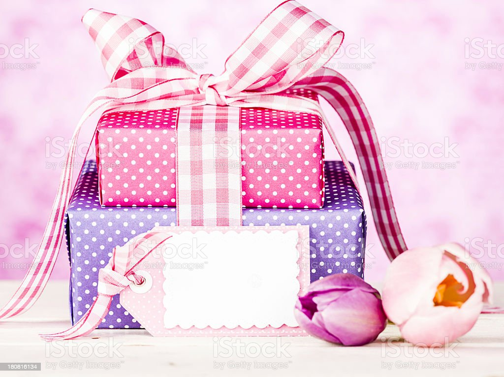 Gifts for Mom with Blank Tag royalty-free stock photo
