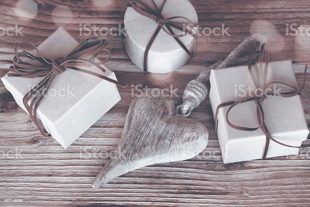 Gifts for mothers day in sepia stock photo