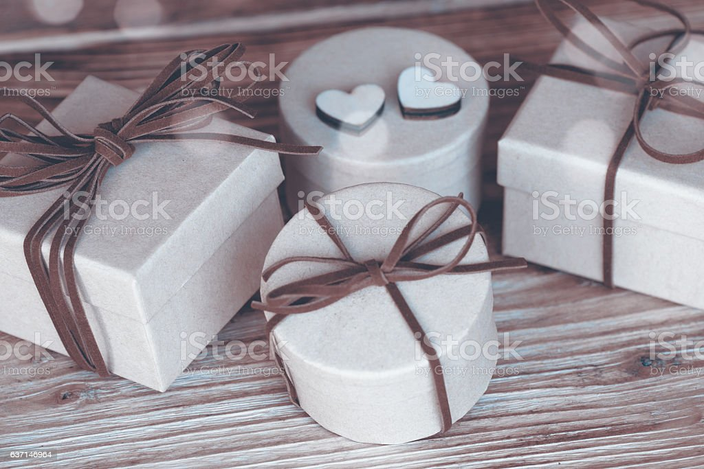 Gifts for special holidays in sepia stock photo