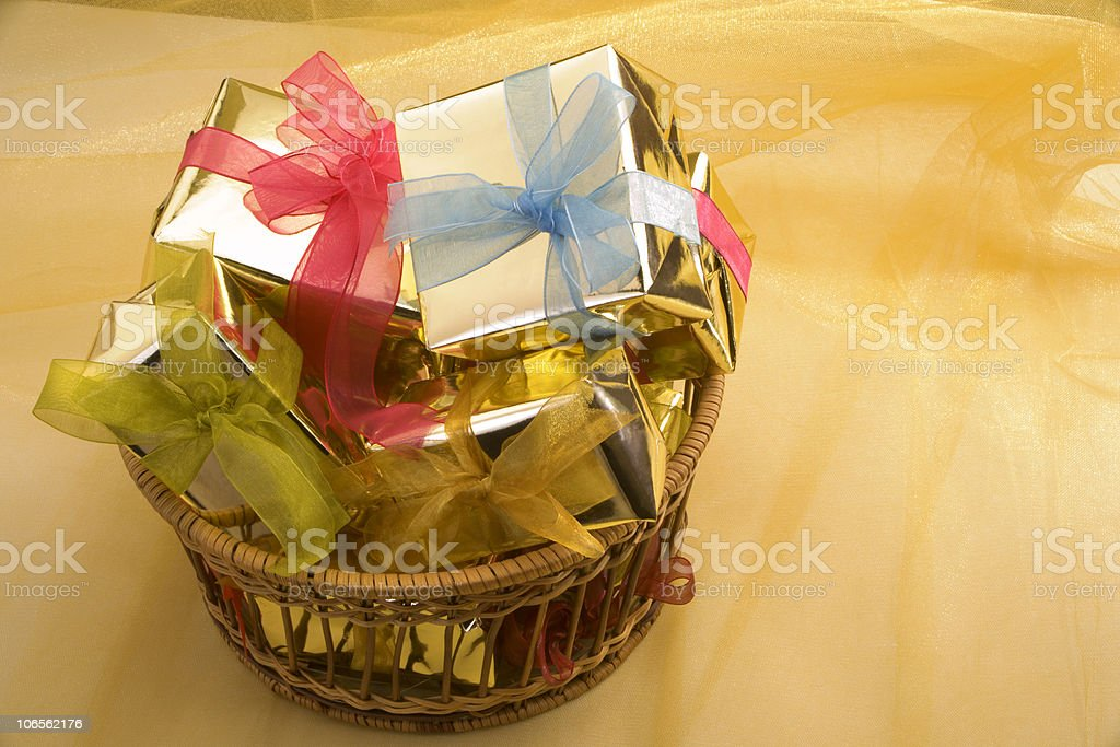 gifts in basket royalty-free stock photo