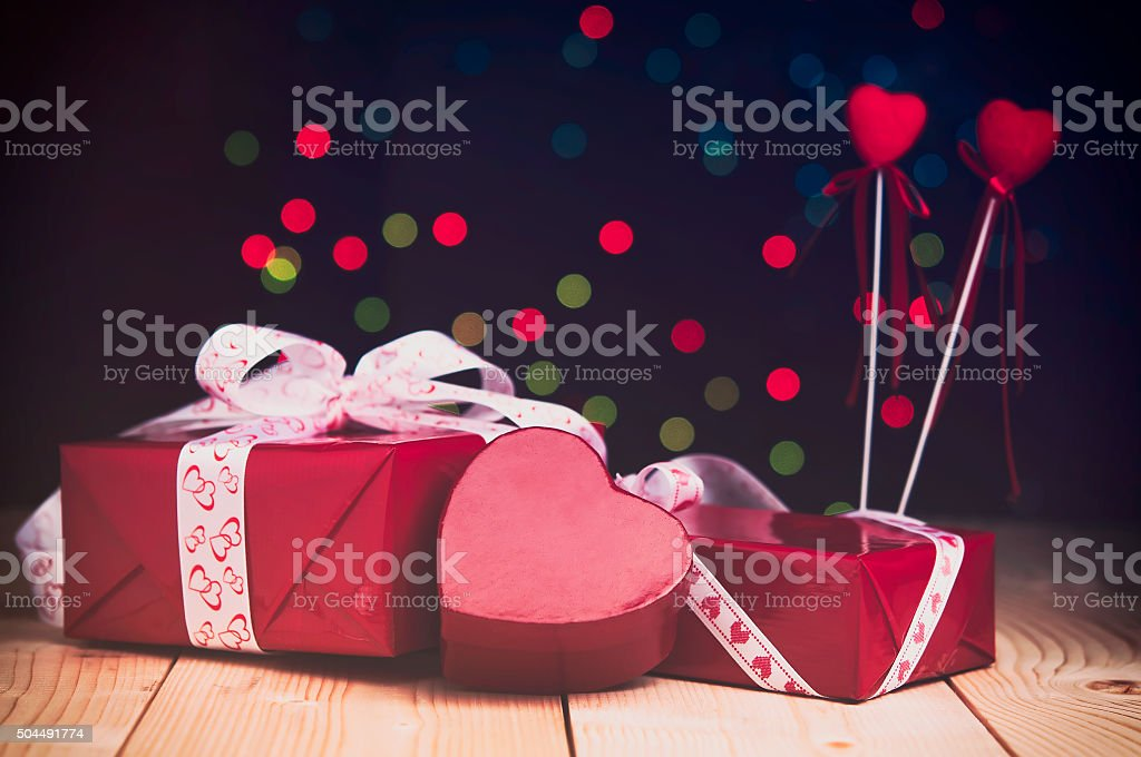 Gifts in red boxes for Valentine's day. stock photo
