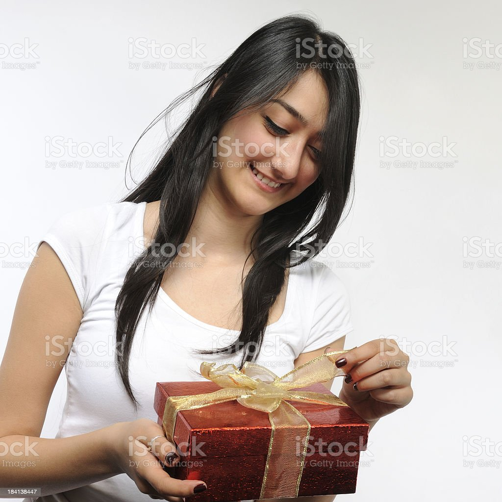 Gifts make me happy! stock photo