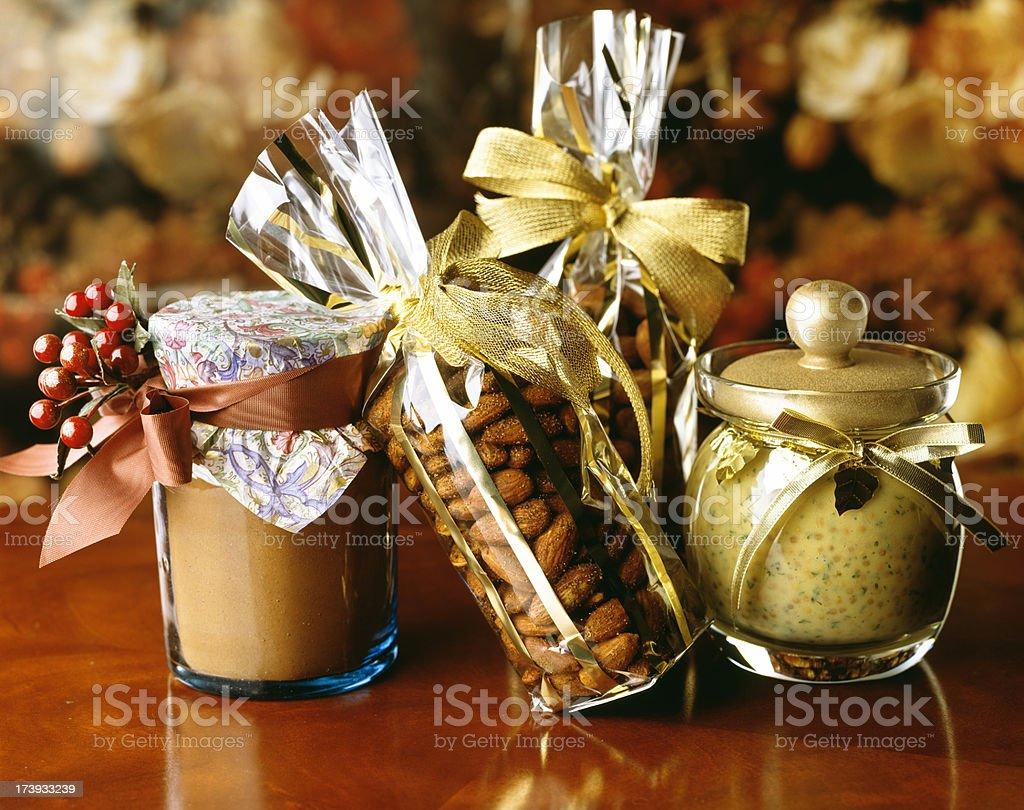 Gifts of nuts and mustard royalty-free stock photo