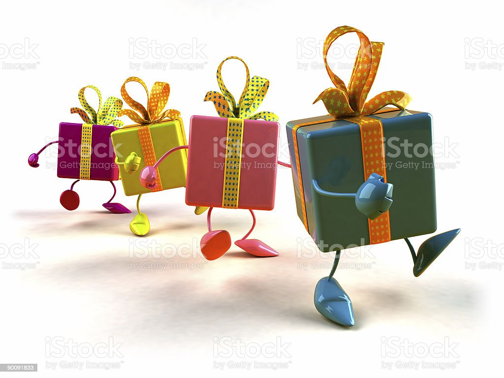 Gifts walking in line royalty-free stock photo