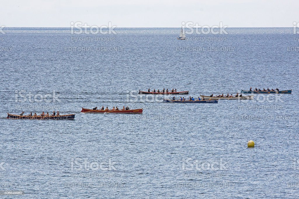 Gig racing at Falmouth harbour regatta in Cornwall, England stock photo