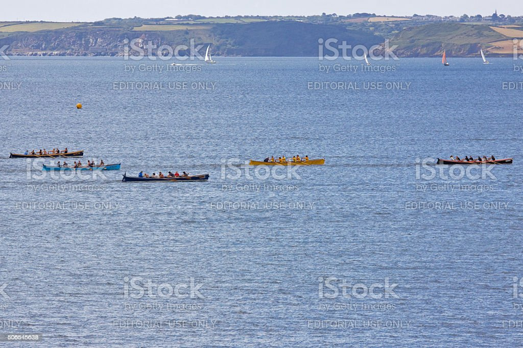 Gig racing in the Fal estuary in Cornwall, England stock photo