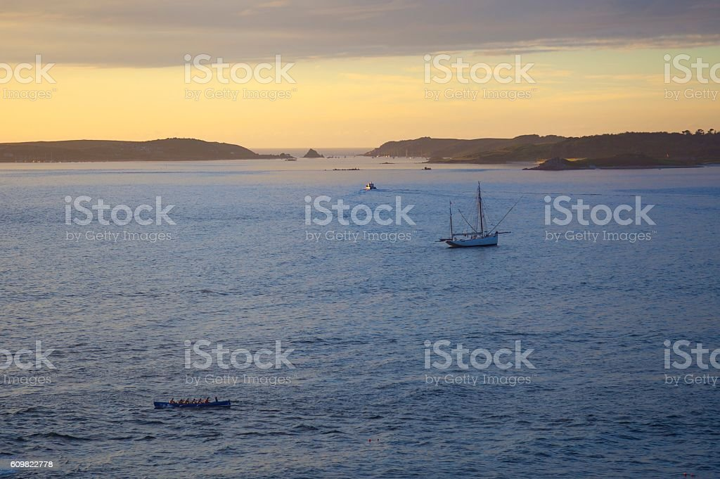 Gig rowers from St Mary's, Isles of Scilly, England stock photo