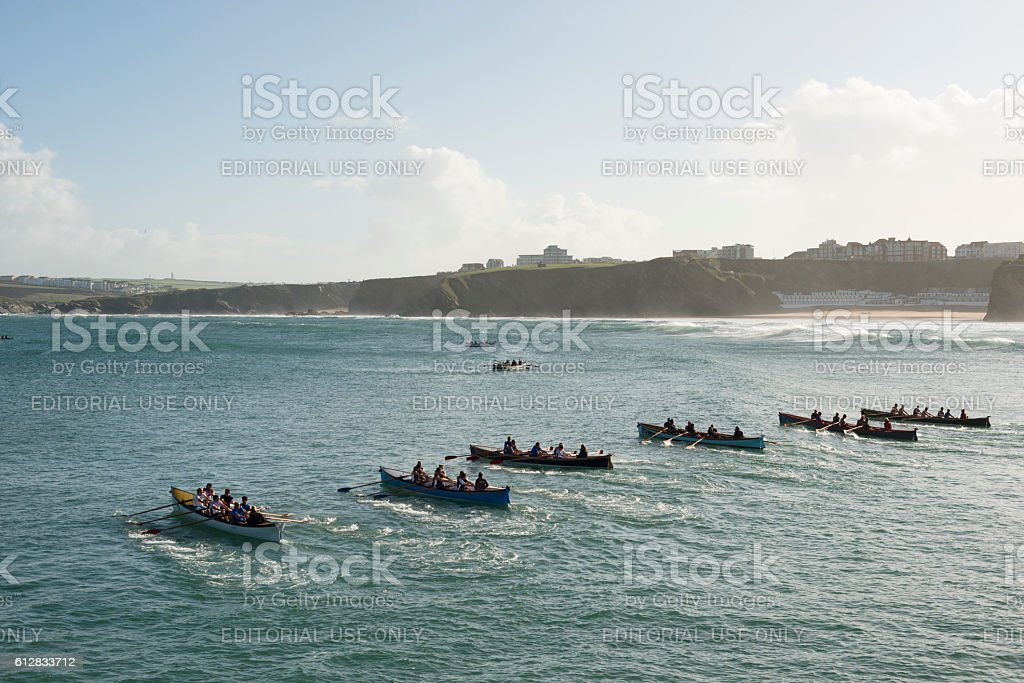 Gig rowers starting a race in Newquay Bay stock photo