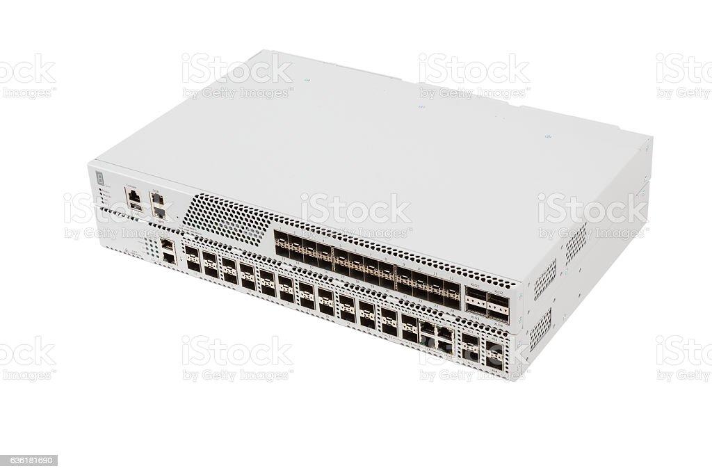 Gigabit Ethernet switch with SFP slot stock photo