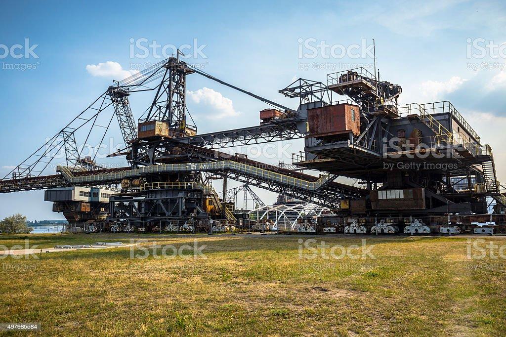 Gigantic excavators in disused coal mine Ferropolis, Germany stock photo