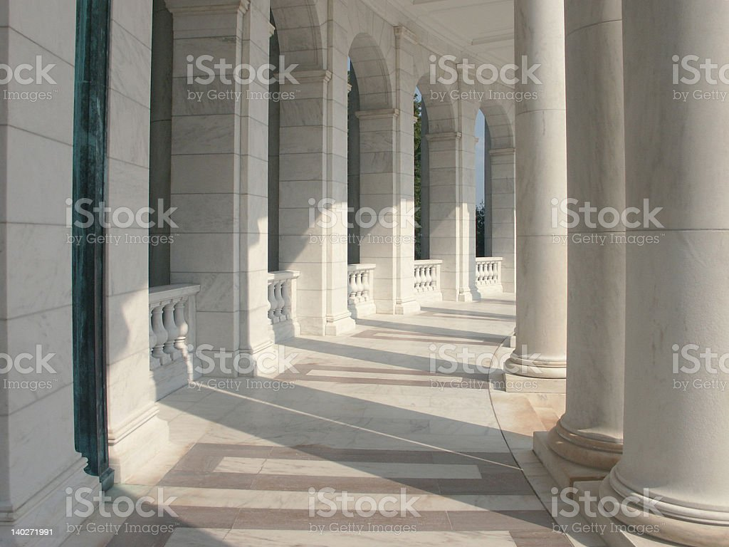 Gigantic marble columns in a row stock photo